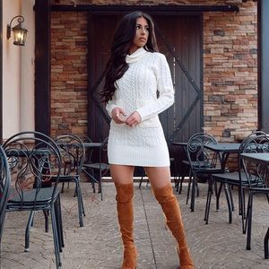 Dresses & Skirts - Ivory knit sweater dress
